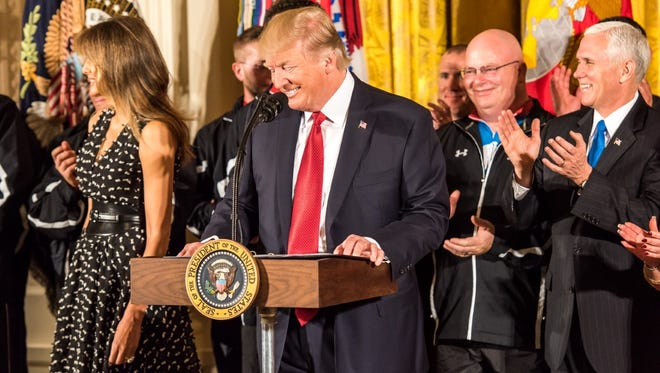 President Donald Trump honors 54 wounded warriors, including Will McCauley (pictured), of Manchester Township, during a special ceremony at the White House.