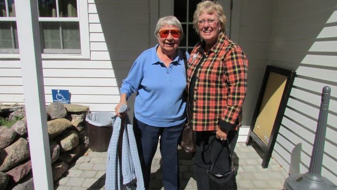 """Suzanne Chilton Hellyer (right) wrote a book """"For Love of Country"""" - a collection of facts about lives of Chilton family members who have served the nation. With her at the Vreeland Store in West Milford is Beatrice Card Kettlewood."""