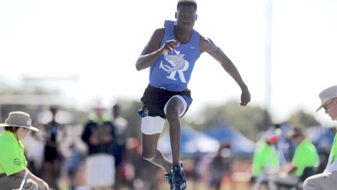 Sebastian River High School's Queshun Watson is shown during the Class 3A triple jump competition Saturday, May 6, 2017, at IMG Academy in Bradenton. Watson won the event, after winning the long jump competition on Friday, May 5, 2017.