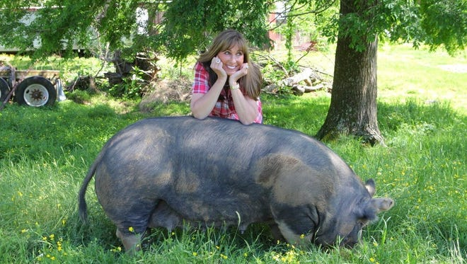 Melissa Cookston and Harriet, the 600-pound Berkshire sow she used to breed her hybrid hogs.