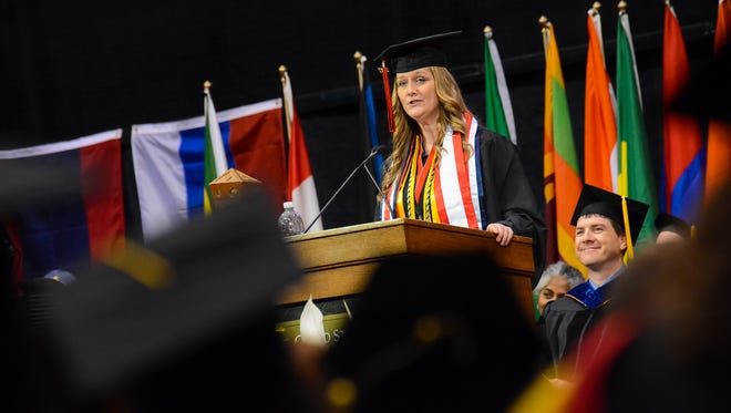 Angela Mundis speaks at St. Cloud State's spring commencement.