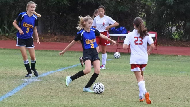 Eighth-grader Madey Layton kicks the ball for the Village School middle school girls soccer team during the 20-16-17 season.