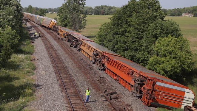 More than 20 train cars derailed Saturday afternoon near Crestline.