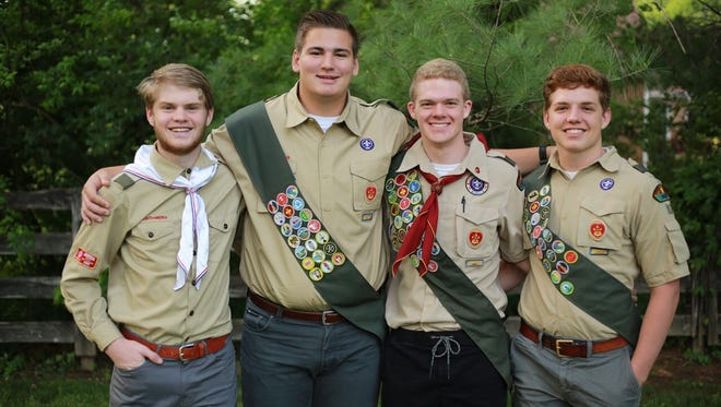 Eagle Scouts Chandler Rich, Caden Williams, Will Stucki and John Critchlow.
