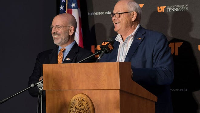 Tennessee President Joe DiPietro, left and Phillip Fulmer during Tuesday's announcement that Fulmer will serve as special adviser to the president for community, athletics and university relations.