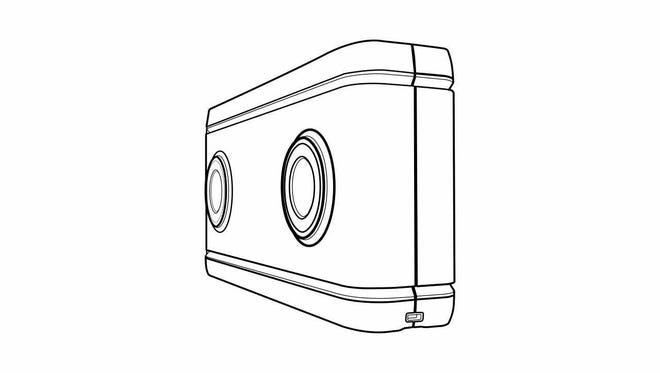 Artist rendering of Lenovo's new dual lens 180 virtual reality camera, which will be out in December.
