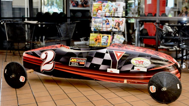 One of the soap box racer cars that kids aged 7 to 12 race each year at the Soap Box Races at the Downtown YMCA. The three block races will be held from First Baptist Church to Travis Street from 9 a.m. to noon Saturday July 8.