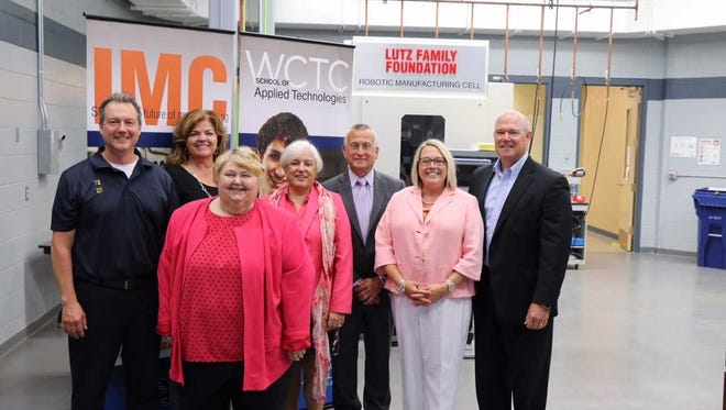 WCTC hosted a launch event for its new mechatronics apprenticeship program June 19. From left to right: Nate Butt, Quad Graphics; Roxanne Betts, Signicast; Karen Morgan, DWD-Bureau of Apprenticeship Standards; Mary Mercurio, KHS, USA Inc.; Mike Shiels, WCTC Dean of the School of Applied Technologies; Deputy Secretary Georgia Maxwell, DWD; Kent Lorenz, WTCS Board of Directors.