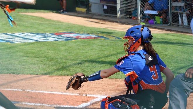 Catcher Avery Adams during Floyds Knobs' opening game at the Little League Softball World Series against Puerto Rico.