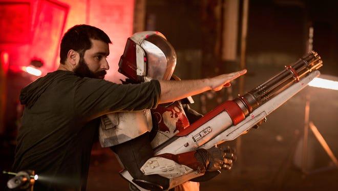 Jordan Vogt-Roberts on the set of filming for the new 'Destiny 2' online game ad in Detroit.