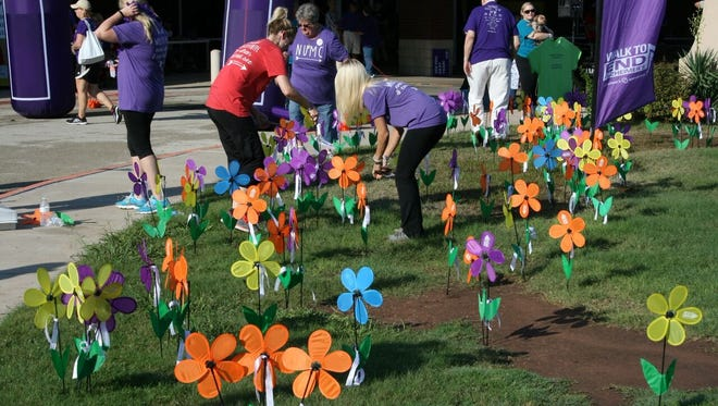 Multicolored pinwheels were part of a tribute garden at the 2016 Walk to End Alzheimer's. The different colors represented caregivers (yellow), someone who lost someone to the disease (purple), someone currently living with the disease (blue) and someone who has a vision of a world without Alzheimer's (orange).