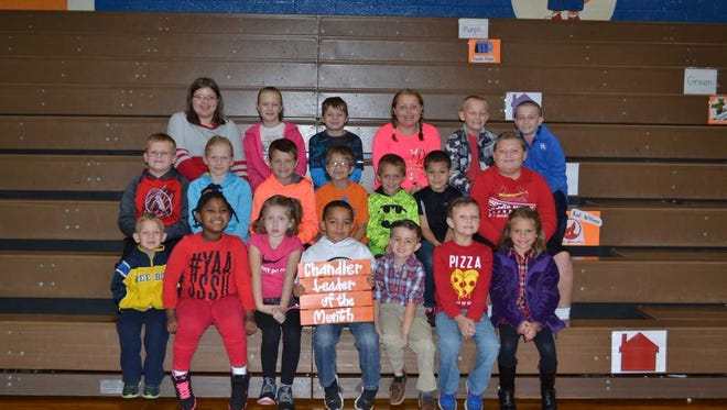 A. B. Chandler's October leaders of the month are, front row from left: Gabe McLean, Serenity Love Martin Brown, Haylee Funk, Zachariah Sanners, Weston Clark, Jackson Smith and Averie Crawford. 2nd row: Austin O'Nan, Katelyn Hayden, Brady Bailey, Brayden Todd, Colton Neale, Ethan Vincent and Caleb Burke. Back row: Sadie Down, Brylee French, James Todd, Kamryn Trout, Bentley Simpson and Ben Stone