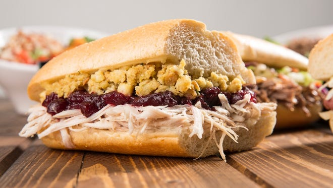 The Bobbie layering house-roasted turkey, cranberry sauce and dressing is the flagship sub of Capriotti's Sandwich Shop.