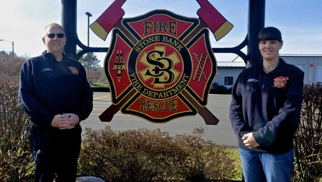 The Stone Bank Fire Department celebrated its 110th anniversary this year. Pictured in front of the department's new sign are fire chief Scott Peterson (left) and firefighter and treasurer Rebecca Pautsch.