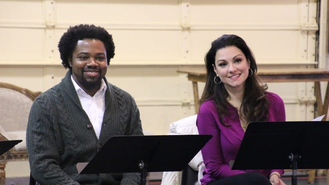 Vocalists Leroy Y Davis and Sandra Piques Eddy enjoy a moment during rehearsals for Florentine Opera's Baroque double bill.