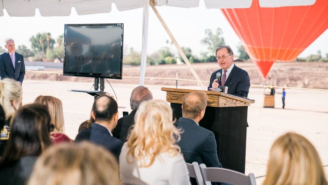Ritz-Carlton President Herve Humler speaks at the ground-breaking ceremony for the Ritz-Carlton, Paradise Valley, the chain's first resort in metro Phoenix, on Feb. 20.