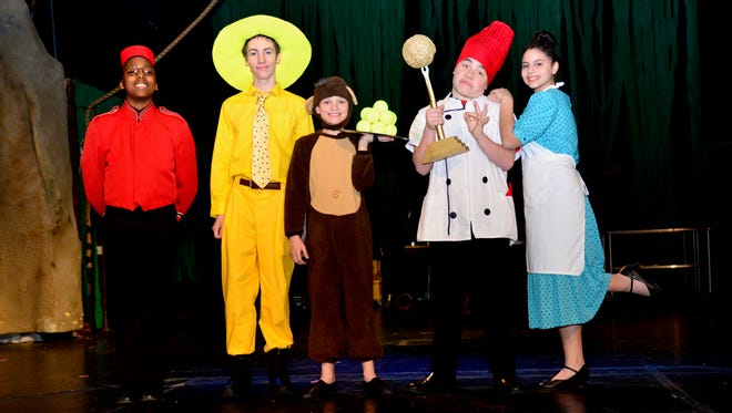 """The Doorman (Donovan Johnson), Man in the Yellow Hat (Cadence Leboeuf), Curious George (Dawson Dabovich), Chef Pisghetti (Ben Austin) and Netti (Sarah Rivers) in the musical """"Curious George: The Golden Meatball,"""" which opens tonight at 7:30 p.m. tonight, 1 p.m. and 5 p.m. Saturday and 2 p.m. Sunday."""