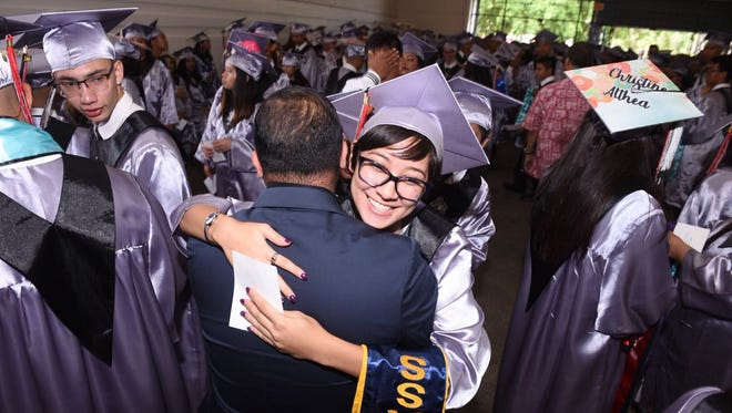 Simon Sanchez High School graduates 320 Sharks at the University of Guam Calvo Field House on June 7.