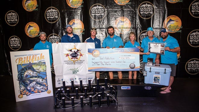Pensacola's Reel Addiction won more than $450,000 for catching the largest marlin in the Gulf Coast Billfish Classic on Saturday in Biloxi, Mississippi.