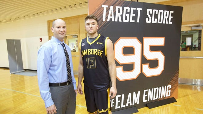 Nick Elam poses with Dalton Pepper, who made the shot to win the first game played under the Elam Ending. Me, with Dalton Pepper, who made the shot to win the first game played under the Elam Ending on June 17, 2017.