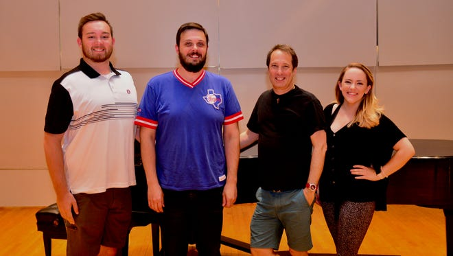 "Gilbert & Sullivan's ""H.M.S. Pinafore"" will play at 7:30 p.m. Thursday July 26 and 2:30 p.m. Sunday July 29 in the Akin Auditorium at Midwestern State University. Shown (l to r) are leading tenor Elijah Brown, music director Marc Sanders, director Dr. Paul Houghtaling, and assistant director Lauren Carlton."