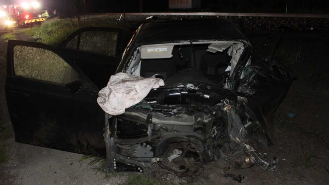 Vehicle after it was struck by Amtrak train