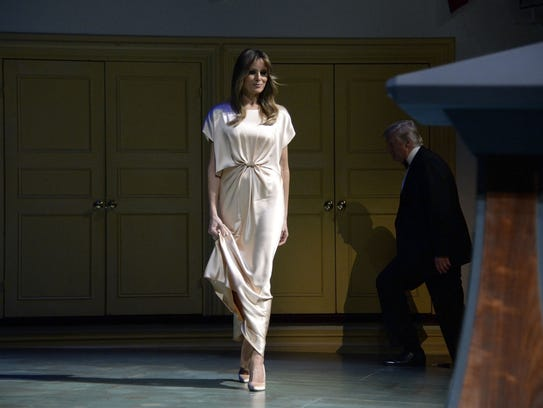 First Lady Melania Trump on stage during the annual