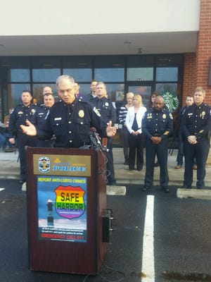 Louisville Metro Police Chief Steve Conrad speaks Wednesday, Nov. 30, 2016, about the Safe Harbor Initiative, a program designed to increase reported hate crimes.