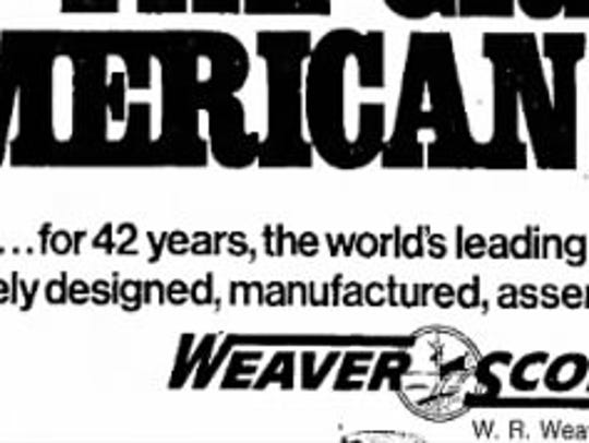 A 1976 ad for Weaver Scopes.
