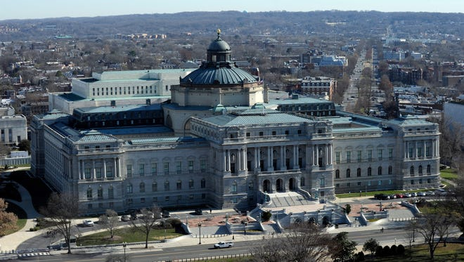 A view of the Library of Congress from near the top of the Capitol Dome on Dec. 19, 2013.