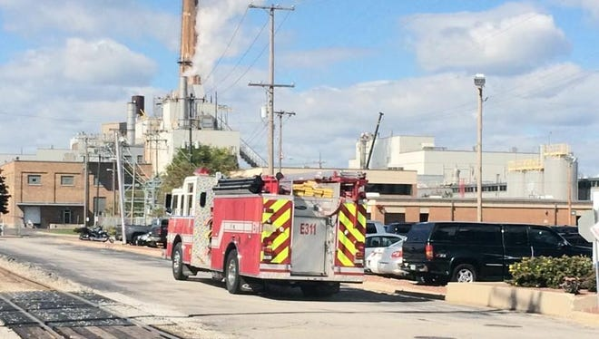 Fire crews battled a fire in a paper machine at the Procter & Gamble paper mill on Green Bay's east side on Monday afternoon. Smoke from the fire was not visible outside the mill.