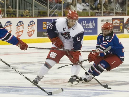 Jackals right wing Tyler Donati  skates with the puck