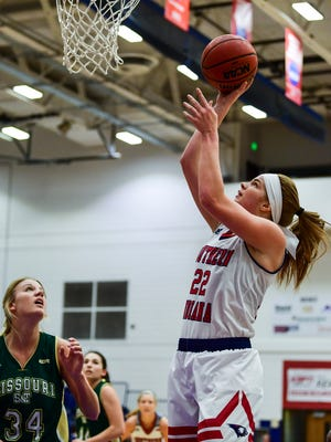 USI's Morgan Dahlstrom (22) makes a layup against the Missouri Science and Technology Miners at USI's Physical Activities Center in Evansville, Ind., Thursday, Jan. 18, 2018.