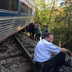 This photo was taken by a passenger on the Amtrak train which derailed Monday in Vermont.