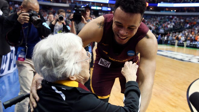 Loyola-Chicago's Marques Townes hugs team chaplain Sister Jean the Ramblers' victory over Tennessee in the second round of the NCAA tournament. Loyola won two more games to reach the Final Four. The Ramblers' entire run almost never happened.