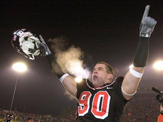 --Oregon State defender Bill Swancutt celebrates their 50-21 win over Oregon during the Civil War game in Corvallis, Ore., Saturday, Nov. 20, 2004. (AP Photo/Don Ryan)