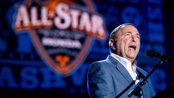 NHL Commissioner Gary Bettman  speaks during the NHL All-Star Game Grand Opening Ceremony and Outdoor Concert Series at the Bridgestone Winter Park on Jan. 28, 2016.