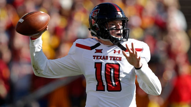 Texas Tech quarterback Alan Bowman throws a pass during the first half against Iowa State in 2018. Bowman started seven games before an injury ended his campaign. Now he is back as a sophomore, healthy and ready to lead the Red Raiders to the type of success other Tech programs have had recently.