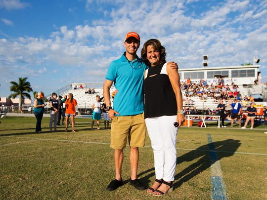 Adam Sommer and Susan Sommer accepted the Florida High School Athletic Association Honor of Distinction award on behalf of the late Jeff Sommer on Thursday at Estero High School.