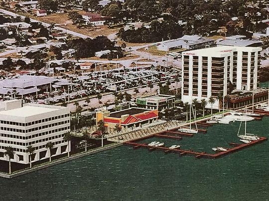 An artist's conceptual rendition of the Riverwalk Marina project on U.S. 1 in Melbourne. The Marina Towers office building is depicted to the left.