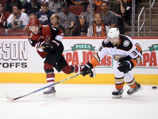 Coyotes winger Josh Archibald shoots against the Ducks last season.