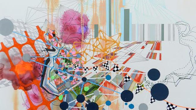 """Heather Patterson, """"Connect,"""" 22"""" x 28"""", mixed media on panel, 2015."""
