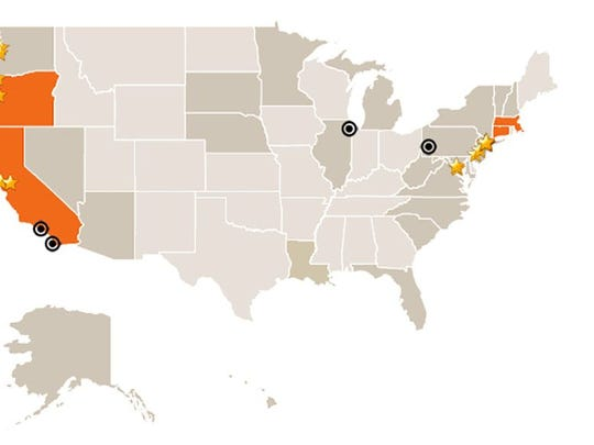 The states in orange and the starred cities have passed law giving workers the right to earn paid sick days. The circles and the states in gray – including Arizona – have been targeted for action on the issue by advocates.