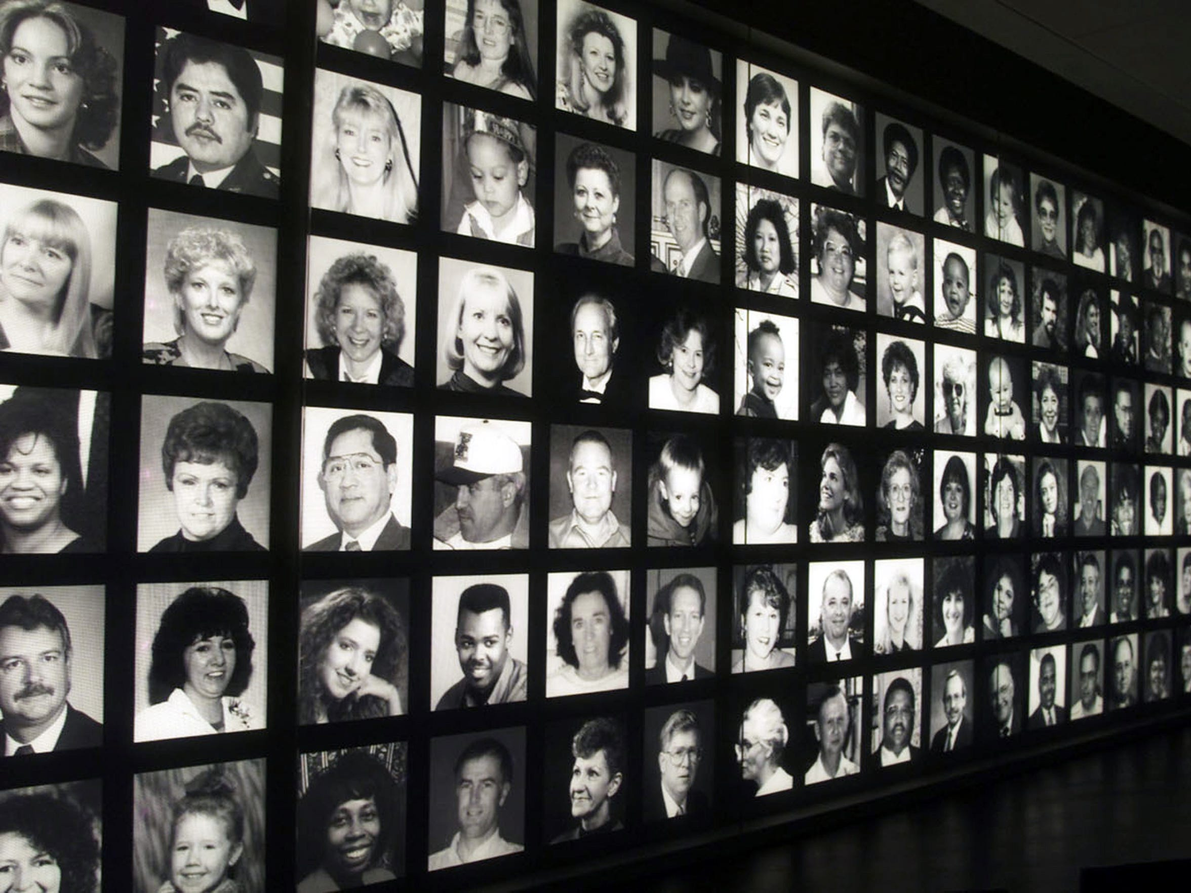 A photo of the Oklahoma City National Memorial, where visitors are greeted with the faces of the 168 people killed in the bombing of the Alfred P. Murrah Federal Building in Oklahoma City as they enter the museum.