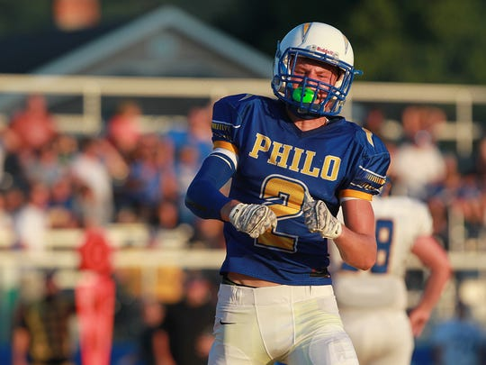 Philo's Kolt Moore celebrates after a safety against West Muskingum. Moore was named a first-team All-East District pick on Thursday by the Associated Press.