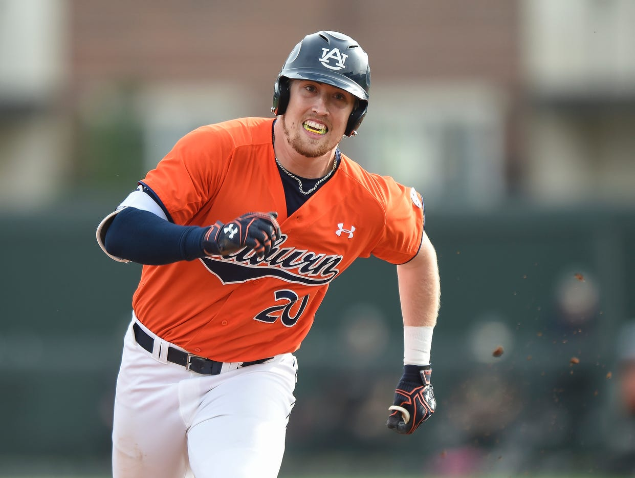 Auburn first baseman Daniel Robert went 4 for 4 with two runs scored in a 9-0 win over George Washington on Friday, Feb. 17, 2017 in Auburn, Ala.