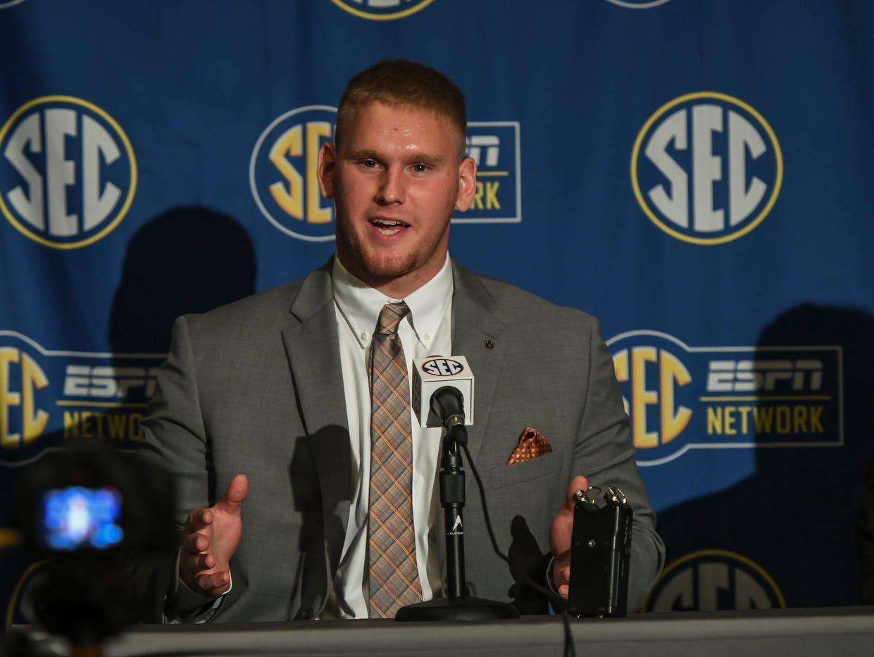 Auburn offensive lineman Braden Smith talks to reporters at the 2017 Southeastern Conference football media days in Hoover, Ala.