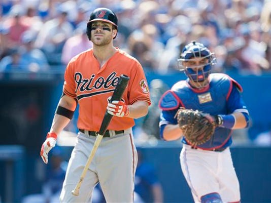 Baltimore's Chris Davis, left, reacts after striking out in front of Toronto Blue Jays catcher Russell Martin during the ninth inning on Saturday. Toronto won 5-1.