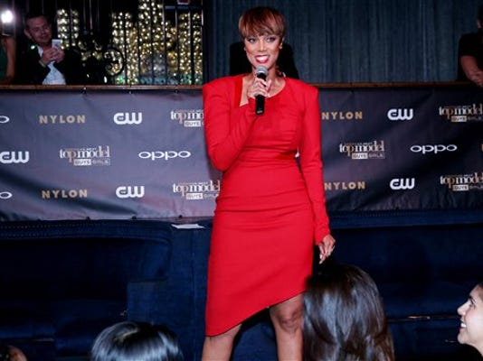 Tyra Banks speaks to the crowd at the America's Next Top Model Cycle 22 premiere party in Los Angeles on Tuesday, July 28, 2015.