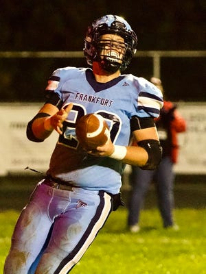 Frankfort's Cole Hiett strolls in for a Frankfort TD against Petersburg.